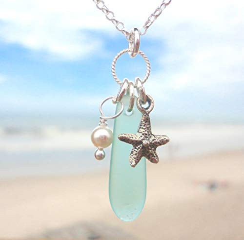 Beautiful Handmade SEA GLASS Charm Necklace - Aqua-Blue Sea Glass - Sterling Silver 18