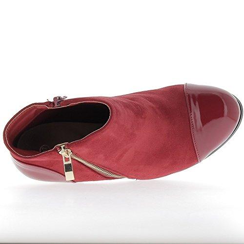 Material bi de mujeres rojas Botas Tacón 10cm