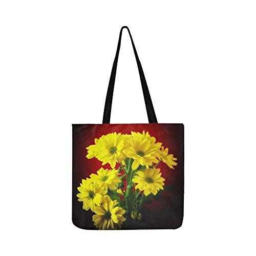 Flower Plant Nature Bright Bouquet Marguerite Canvas Tote Handbag Shoulder Bag Crossbody Bags Purses For Men And Women Shopping Tote