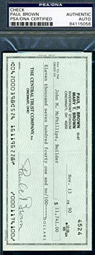 PAUL BROWN PSA DNA Coa Autograph Check Hand Signed Authentic