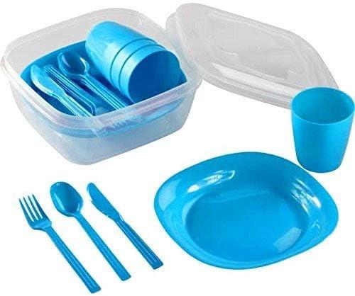 1 unidad azul Menz Stahlwaren GmbH Presupuesto lata camping set para 4/personas con platos 1 pieza vaso y cubiertos