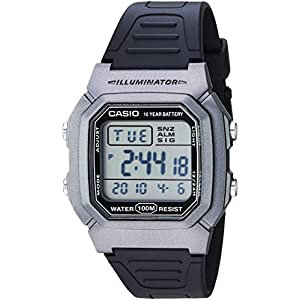 Casio Men's Classic Stainless Steel Quartz Watch with Resin Strap, Black, 18 (Model: W-800HM-7AVCF)