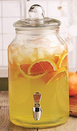 Circleware 92008 Mason Jar Beverage Dispenser and Glass Lid, New Fun Party Entertainment Home & Kitchen Glassware Pitcher for Water, Juice, Beer, Punch, Iced Tea, Cold Drinks, 1 Gallon, Charming (Dispenser Giant Beverage Mason Jar)