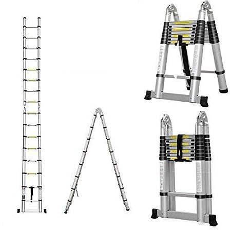 AutoBaBa Multi-Purpose 5M Aluminium Portable Telescopic Ladder DIY ...