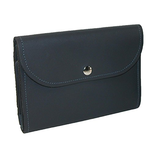 CTM Leather Deluxe Top Stub Checkbook Wallet, Navy by CTM