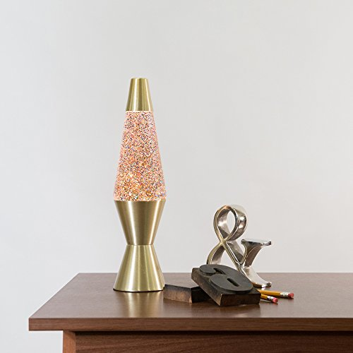 14.5-Inch Gold Base Lamp with Rainbow Glitter Wax in Clear Liquid by Schylling (Image #2)