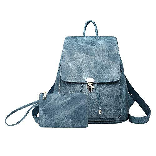 Familizo Mujer Piel Bolsa Mano Retro Azul Imitación De Suave Mochila Bag Bandolera Moda Denim Bolsos rqtz5r