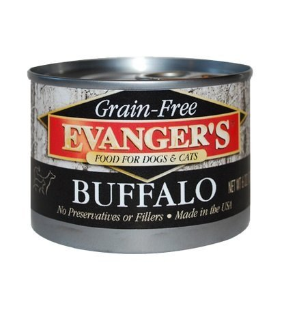 Evangers Buffalo Grain Free All Natural Food for Dogs & Cats, 6 oz, Pack of 24
