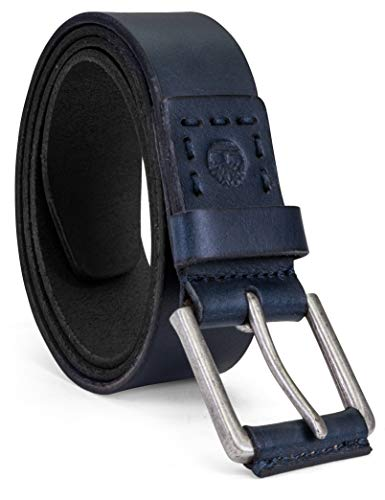 Timberland Men's Casual Leather Belt, Navy Blue, 34 (Mens Blue Dark Leather)