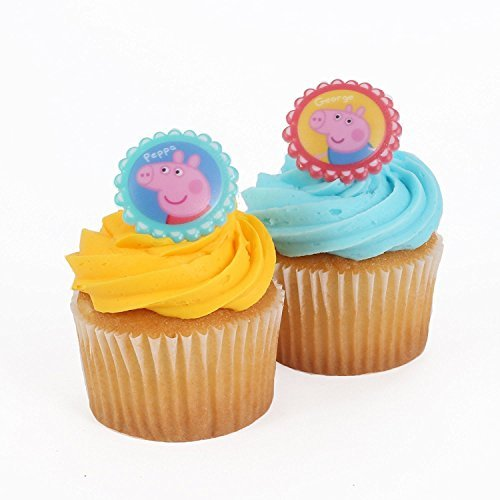 Bakery Crafts - Peppa Pig 24 Cupcake Topper Rings, 1.5