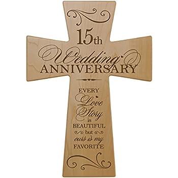 amazon   15th wedding anniversary maple wood wall cross