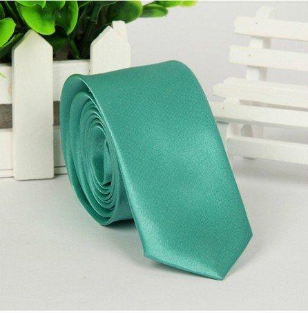 Cravate bleu et vert, loisirs, bureau, bout en pointe 5 cm fil de polyester