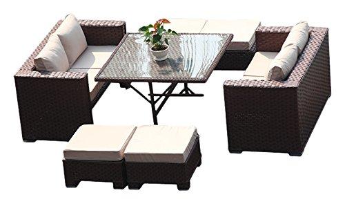 yakoe 50140 142 x 71 x 65 cm Papaver 8-Sitzer Cube Esstisch Set ...