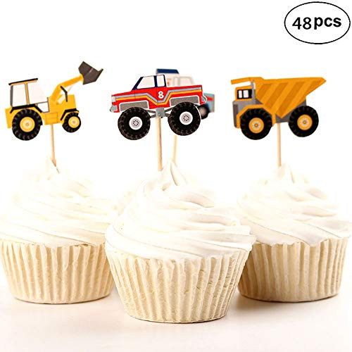 48pcs Truck Tractor Excavator Dumpers Car Cupcake Decorative Cupcake Topper for Kids Party, Party Pick Cake Decorations