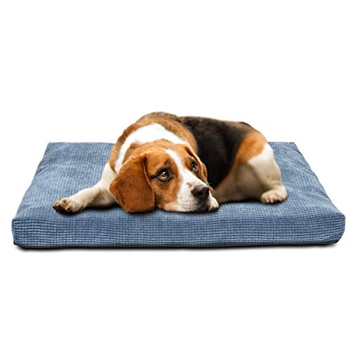 INVENHO Dog Bed Comfortable Soft Crate Pad Anti-Slip Washable Removable Cover Dog Crate Pad for Large Medium Dogs & Cats(Blue - Soft Dog Comfortable Beds