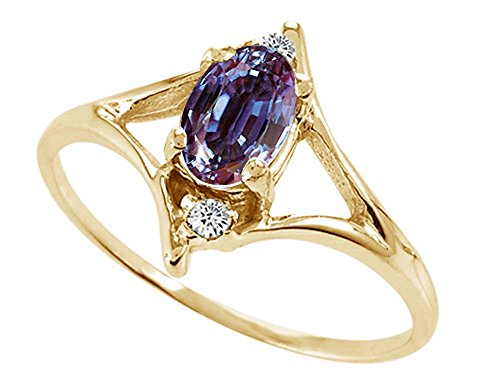 - Tommaso Design Oval 6x4 mm Simulated Alexandrite Ring 14 kt Yellow Gold Size 9