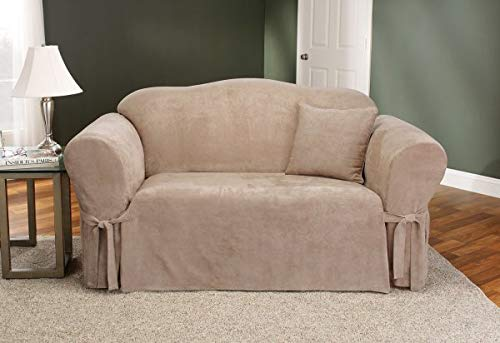 (Sure Fit Soft Suede 1-Piece  - Loveseat Slipcover  - Taupe (SF32536))