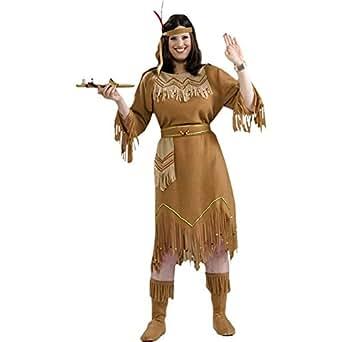 Forum Novelties Women's Native American Indian Maid Plus Size Costume, Brown, Plus