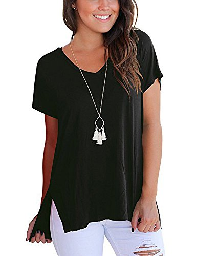 SVALIY Womens V Neck Short Sleeve Loose Casual T Shirts Tops Tee Plain Basics Slit Black (Loose Pack)