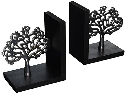 Deco 79 Aluminium Tree Bookend Pair, 7 by 6-Inch