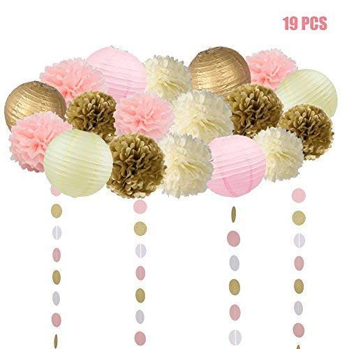 19 Pcs Pink and Gold Tissue Paper Flowers Pom Poms Lanterns and Garland for Baby Shower Party Decoration by HOMEJOY