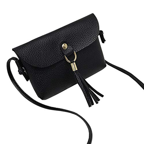Shoulder Fashion with Tassel Bafaretk Messenger BLACK Bags Bag Small Woman's Handbag Mini Vintage IUwd6qA