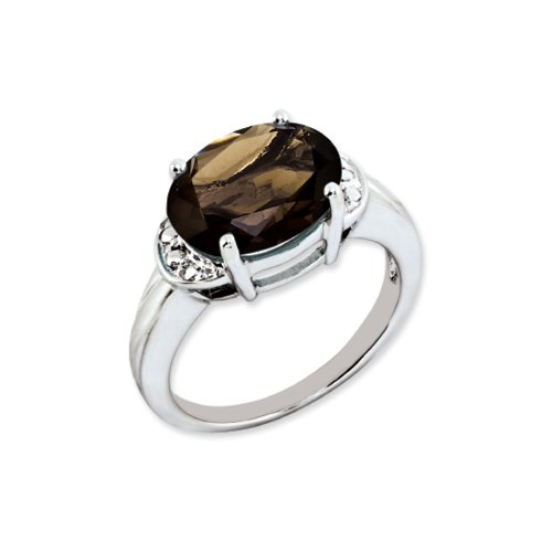 4.5 Ct Oval Smoky Quartz Ring in Rhodium Plated Sterling Silver Size (Faceted Oval Smoky Quartz Ring)