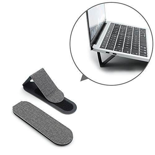 SenseAGE (2pcs-Pack) Foldable & Adjustable Multi-Angle Design Adhesive Flip Stand Holder for Laptop, MacBook, Tablet, Phones – Smoke Gray