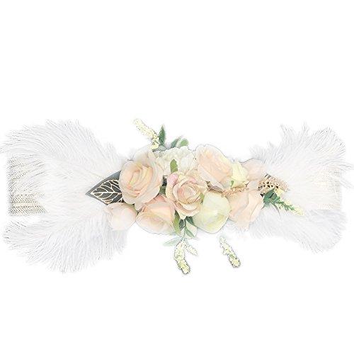 Ever Fairy moda flor cinturones para mujer niña dama de honor vestido de satén cinturón boda fajas cinturón de la pluma tela elástica cinturón accesorios E