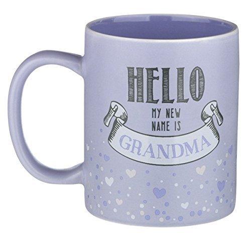 Road 12 Oz Mug - 12-ounce Mug - Hello My NEW Name Is Grandma - Purple Ceramic with Gift Box by Grasslands Road