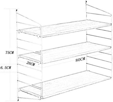 メタルラック本体 リビングルーム錬鉄製ラックディスプレイスタンド寝室用仕上げラック書斎用壁掛け本棚多層クリエイティブ収納ラック (Color : Black, Size : 60*26*75cm)