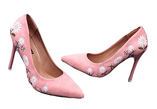 Ein bißchen 2018 Damen Mode Elegant Blume Nubukleder High Heels Pumps Business Arbeitschuhe Rosa