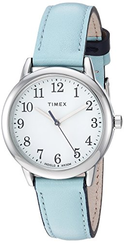 Timex Women's TW2R62900 Easy Reader 30mm Blue/Silver-Tone Leather Strap Watch (Timex Watch Womens Analog)