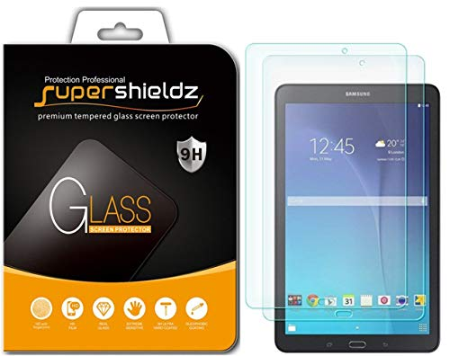 [2-Pack] Supershieldz for Samsung Galaxy Tab E 9.6 inch Tempered Glass Screen Protector, Anti-Scratch, Anti-Fingerprint, Bubble Free, Lifetime Replacement Warranty