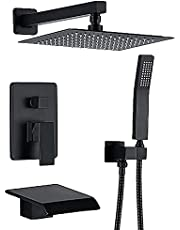 Genhiyar Waterfall Tub and Shower Faucet Black 10 inches Shower Tub System with Rain Showerhead Rough-in Valve and Trim Kit Shower Fixtures 3 Way Shower Mixer Faucet Set (Black)