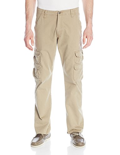 Cotton Cargo Pocket Pants - Wrangler Authentics Men's Premium Twill Cargo Pant, British Khaki, 32x34