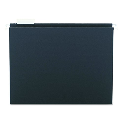 Smead Hanging File Folder with Tab, 1/5-Cut Adjustable Tab, Letter Size, Black, 25 per Box (64062) (Black Colored File Cabinet)