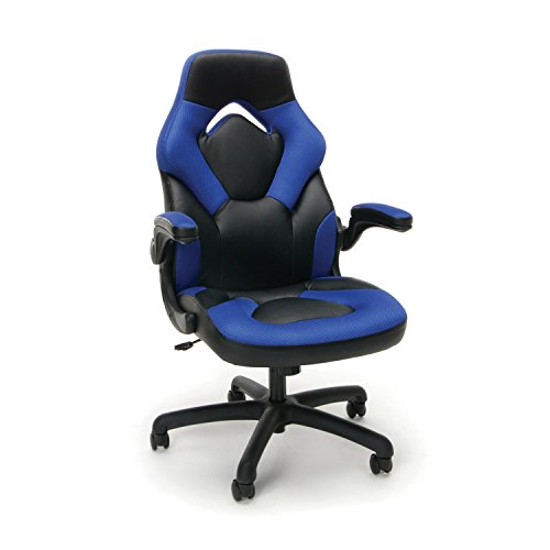 Essentials Racing Style Leather Gaming Chair – Ergonomic Swivel Computer, Office or Gaming Chair, Blue (ESS-3085-BLU)