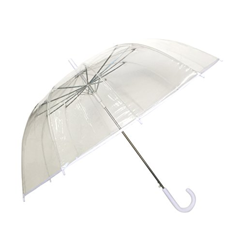 SMATI - Stick Umbrella - Clear Bubble Canopy - Big Size - 12 Fiberglass Ribs - Windproof - Auto Open - See Through (Transparent -