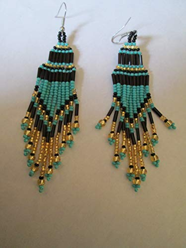 dangle chandelier black gold turquoise blue tiered hand beaded glass seed beads bugle beads dangle earrings beadwork fair trade handmade native american style southwest - Native Hand Earrings Beaded