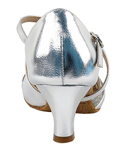 Scarpe Da Ballo Latino Ballo Tango Latino Molto Fine Per Le Donne S92307 Tacco 2 Pollici + Pacchetto Pieghevole Pennello Argento Scala-argento In Pelle