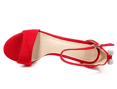 Bout Unie pour Sandales Elegantes Bride avec Cheville Talons UH Rouge Suede Noeud Femmes Moyen à Ouvert D'été Aiguilles Couleur f0aSA7qwxS