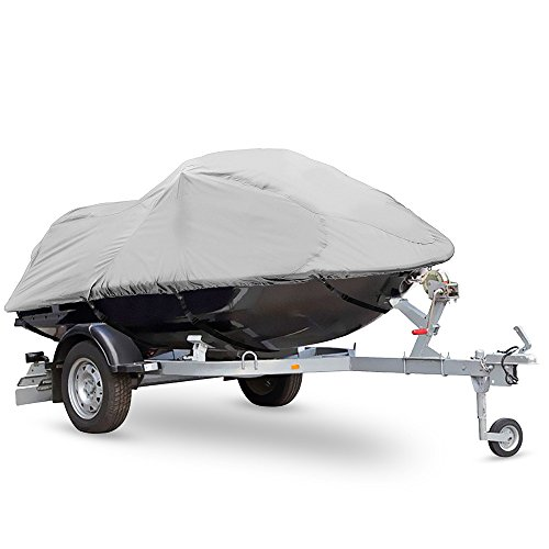 "Pyle Heavy Duty Boat Cover - 127"" to 138"" Universal Marine Grade Storage Cover w/Rear Air Vents, Waterproof Fabric & Elastic Cord - Protection Against Rain, Mildew & UV Damage - PCVJS13"