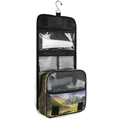 Mountain Village Travel Hanging Toiletry Bag Cosmetics Pouch Makeup Package Shower Toiletries Organizer Bathroom Storage for Men or Women