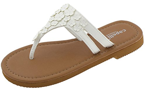 Cut Out Daisy (Capelli New York Girls Flip Flops with Cut Out Daisies White 3/4)