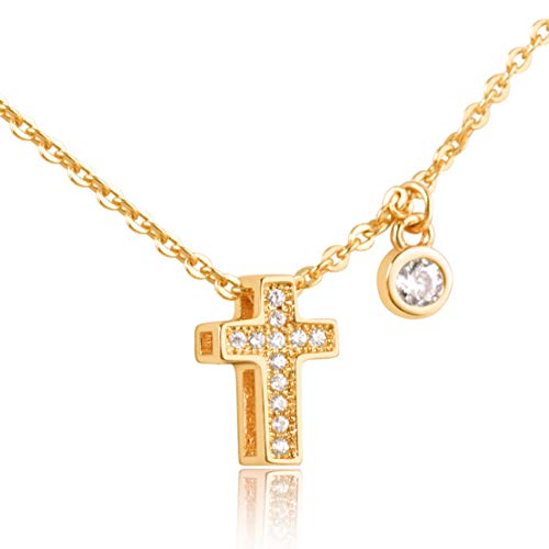 - Karseer Tiny Cross Necklace 18K Gold-Plated Double Sided Pendant Necklace CZ Crystal Holy Spirit Fruit Charm Necklace Women and Girls Fashion Christian Religious Jewelry Gift for Wedding Birthday
