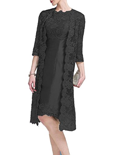 Formal Short Bride Lace Evening of The Black Mother with Dressyu Jacket Satin Dress XwxSw