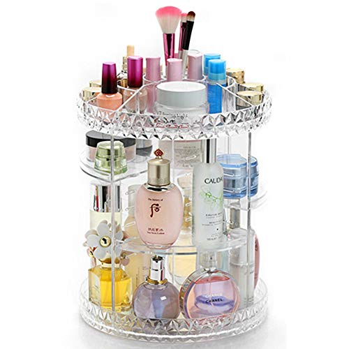 (Weiai Makeup Storage 360 Degree Rotating Cosmetic Display Holder Acrylic Diamond Pattern Adjustable Layers Fit for Pressed Powder, Perfume, Brush, Lipstick, Eyeshadow (Shape1))