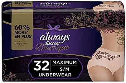 Always Discreet Boutique, Incontinence & Postpartum Underwear for Women, Disposable, Maximum Protection, Peach, Small/Medium, 16 Count - Pack of 2 (32 Count Total)