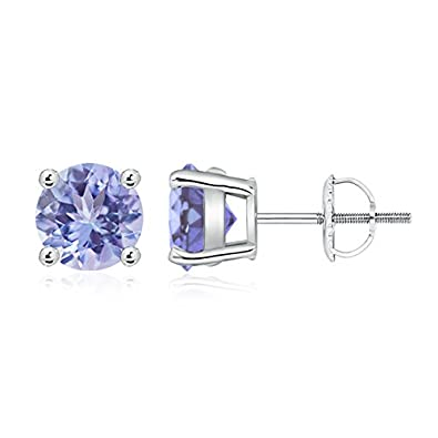 Angara Basket-Set Round Tanzanite Stud Earrings QoqbfWYO